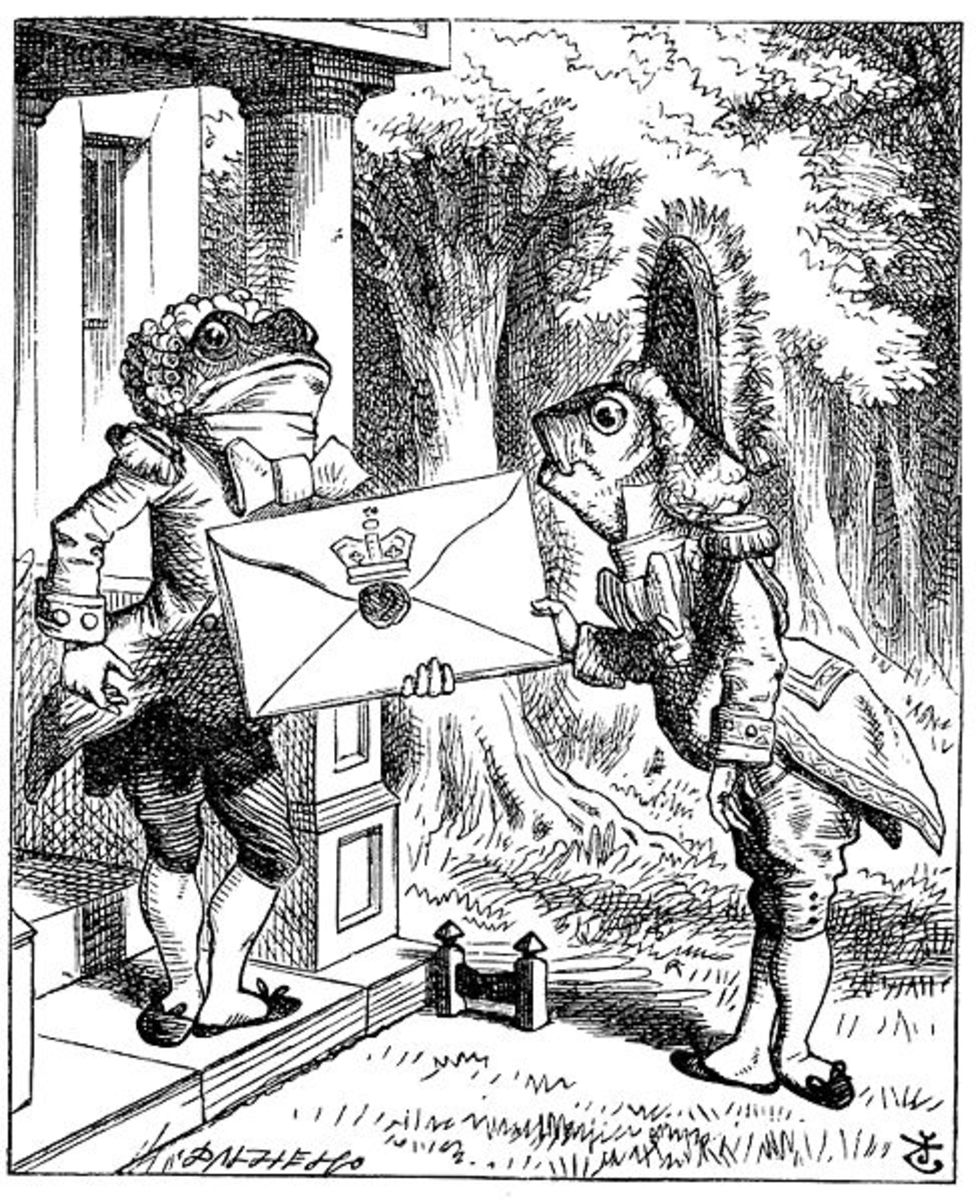 Sir John Tenniel's 1865 illustration of the frog footman