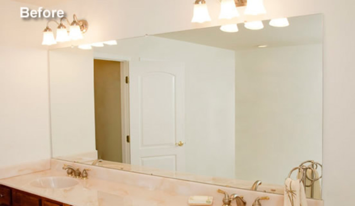 How to update a boring bathroom part three framing out a - Mirror frame kits for bathroom mirrors ...