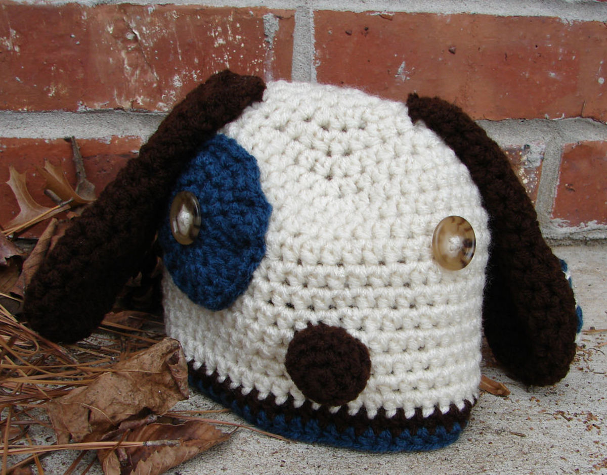 Puppy hat with doggy ears for ear flaps