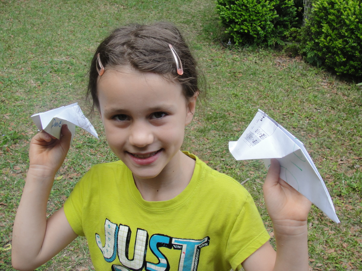 Pointed (wedge) and flat noses on paper airplanes
