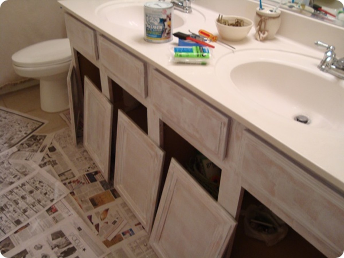 how to update a boring bathroom part one painting the cabinets