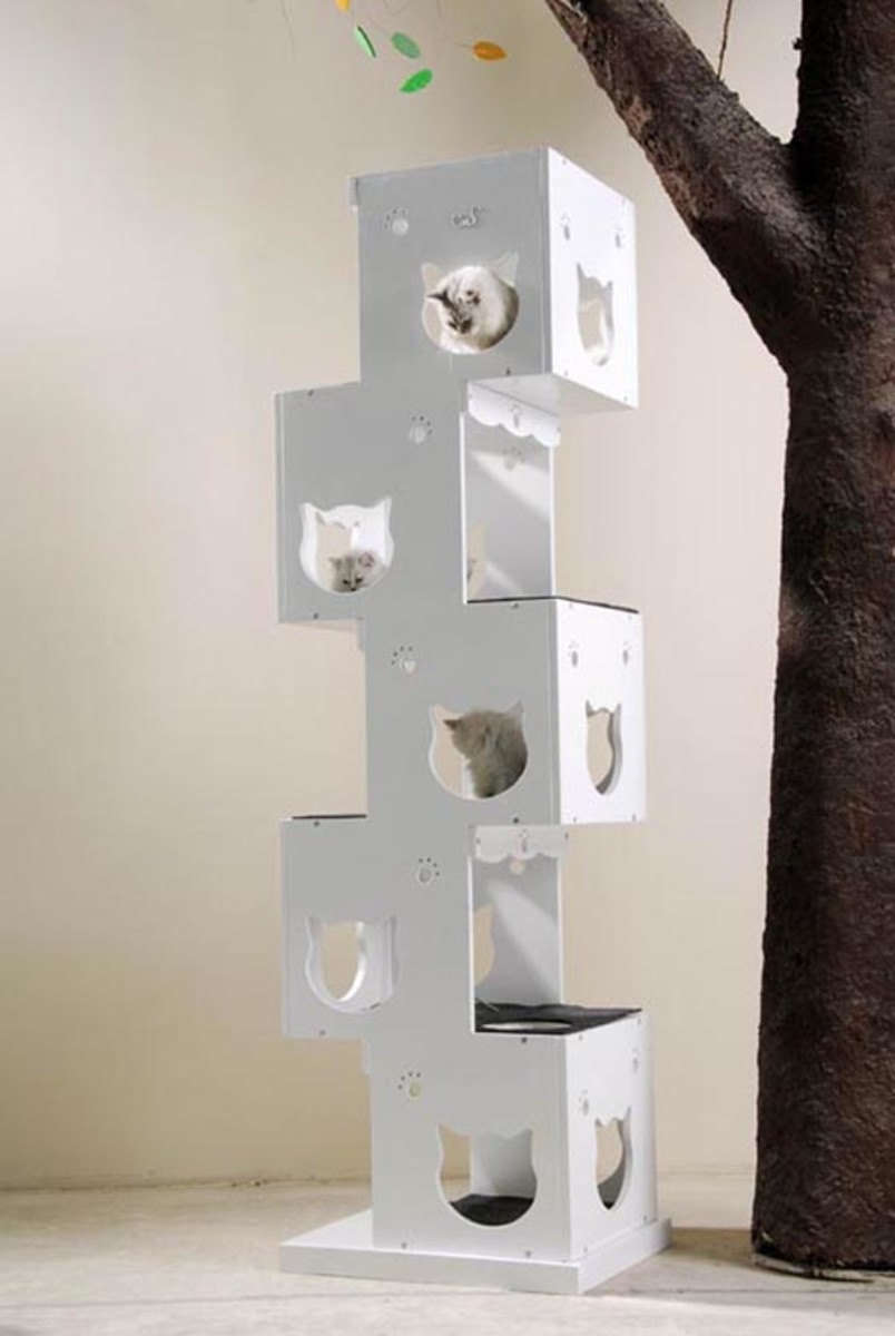 This cat tree has a modern abstract design and is simple and comfortable. You can get this from catsweet.com