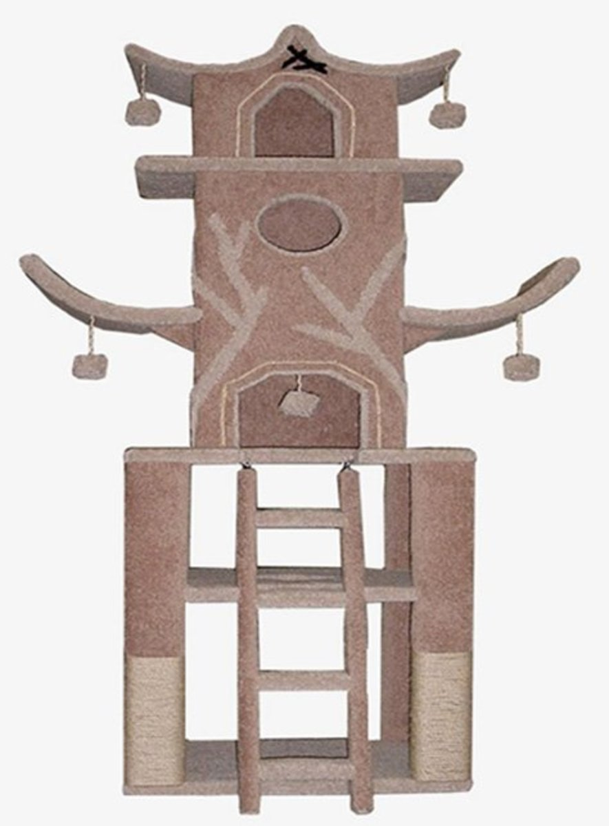 This cat tree looks like a temple. A pretty design which can be ordered at PlayTimeWorkshop.