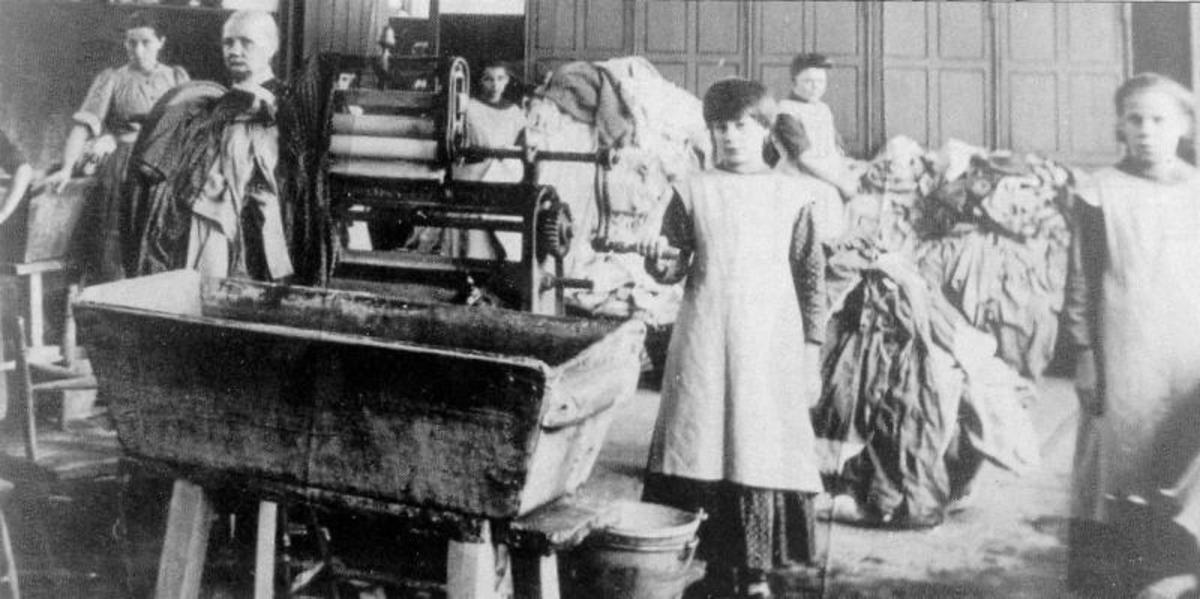 Girls inside an Irish Magdalene Laundry (click to enlarge).