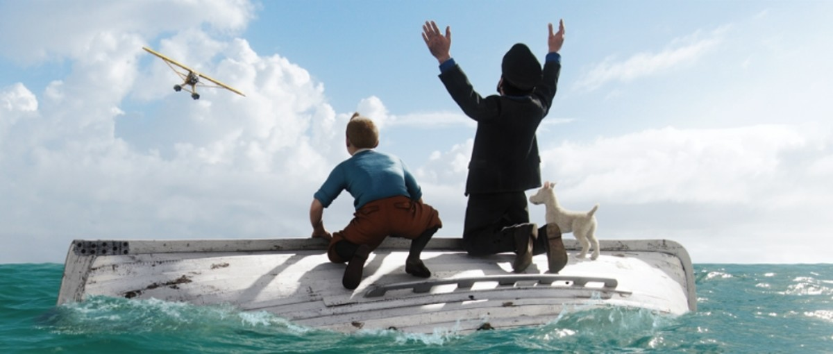 A scene from the film with Tintin and Capt Haddock