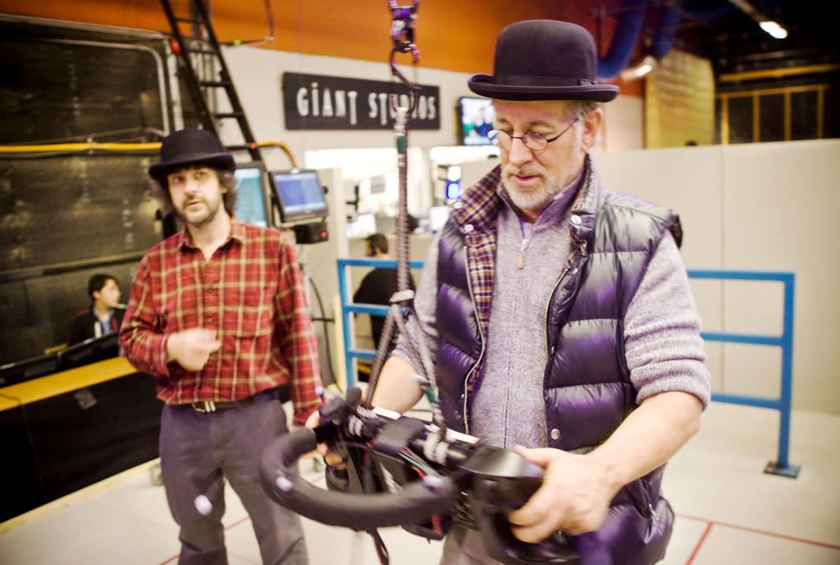 Spielberg directing using the unique 3D camera