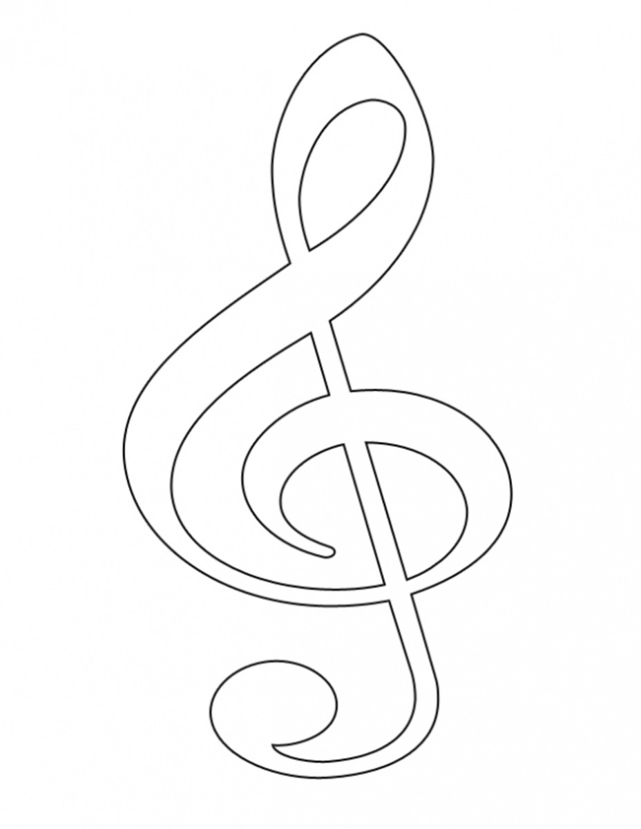 Treble Clef Coloring Page - Right Click Image & Save
