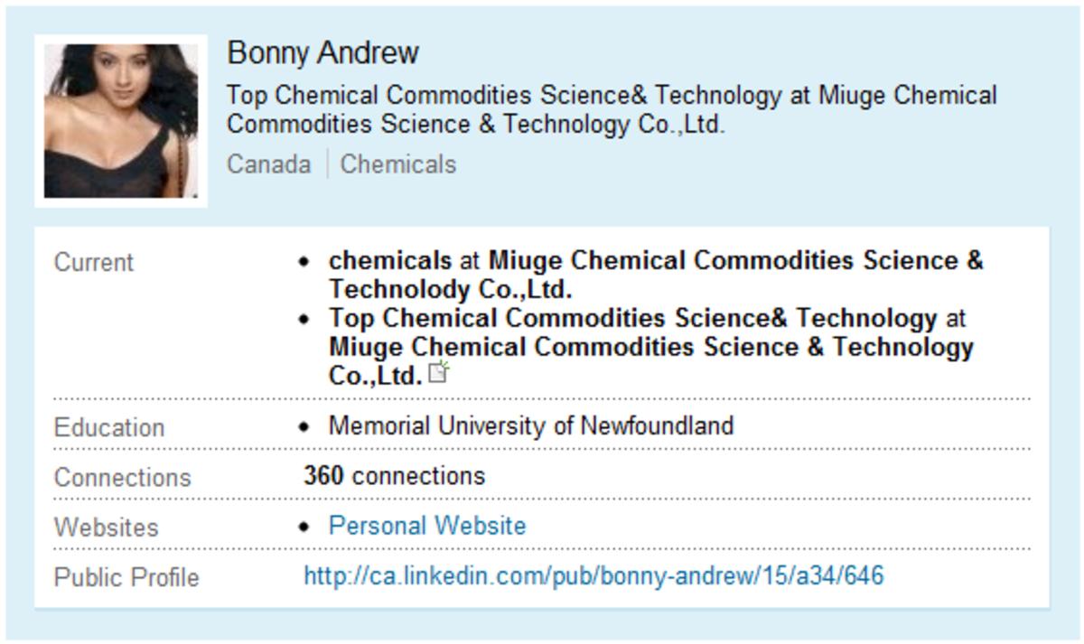 Suspect Fake Profile: Bonny Andrews