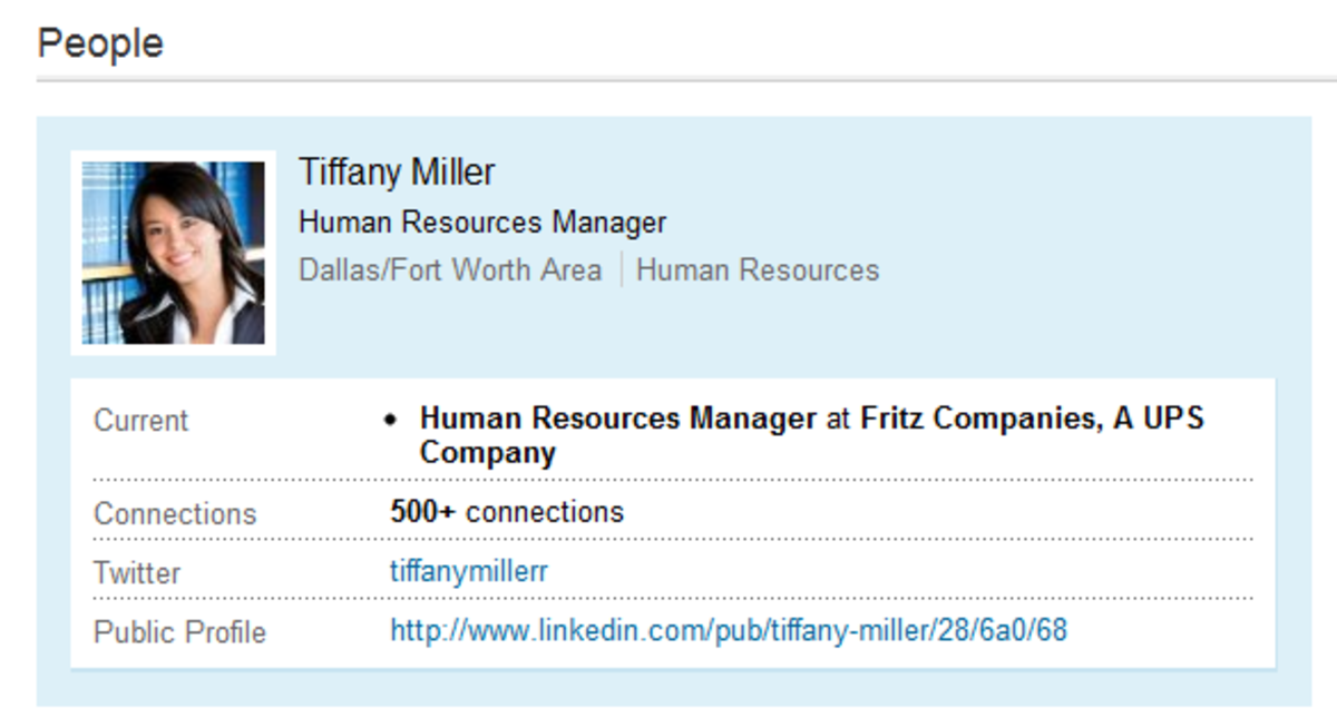 Suspect Fake Profile: Tiffany Miller. The picture is a stock photo from iStockPhoto.com, easily found via TinEye. (Click to enlarge)