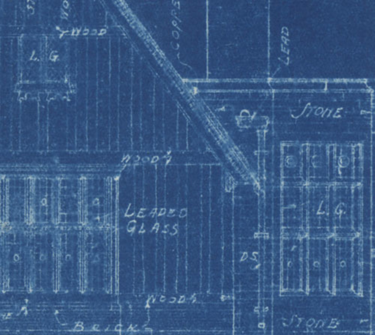 1932 blueprint, of a tennis house.  Notice the beautiful hand-lettering.