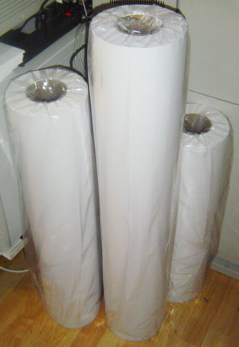 "Rolls of bond paper.  The tallest is 36"".  The advantage of a roll is that the printer can print a 24""x36"" sheet, or a 240""x36"" sheet, without changing paper.  Not something you could do with blueline sheets, that came already cut."