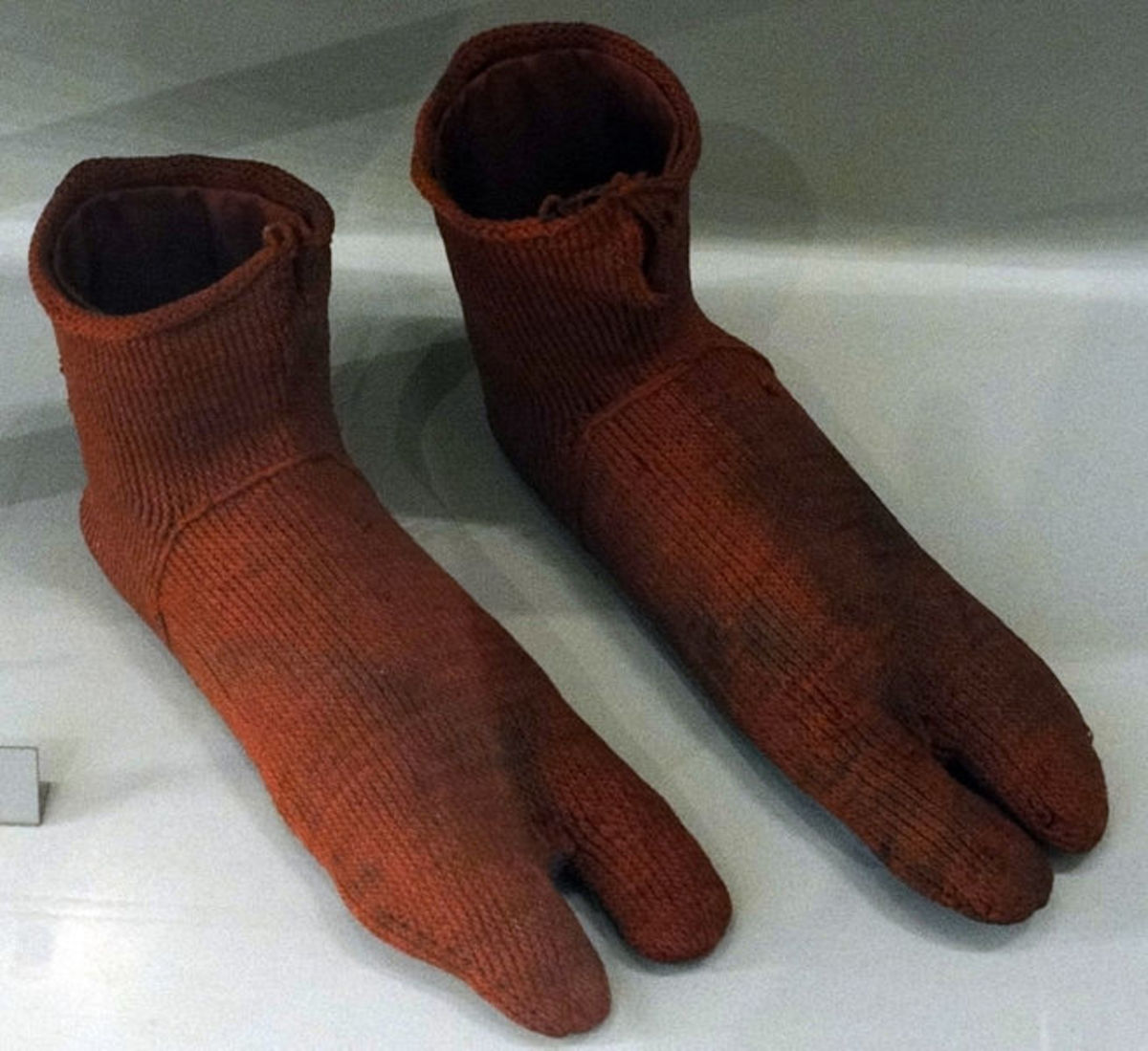 Earliest known surviving cloth socks from 300 ---500   a.d.   On display at the Victoria and Albert Museum in London, England.