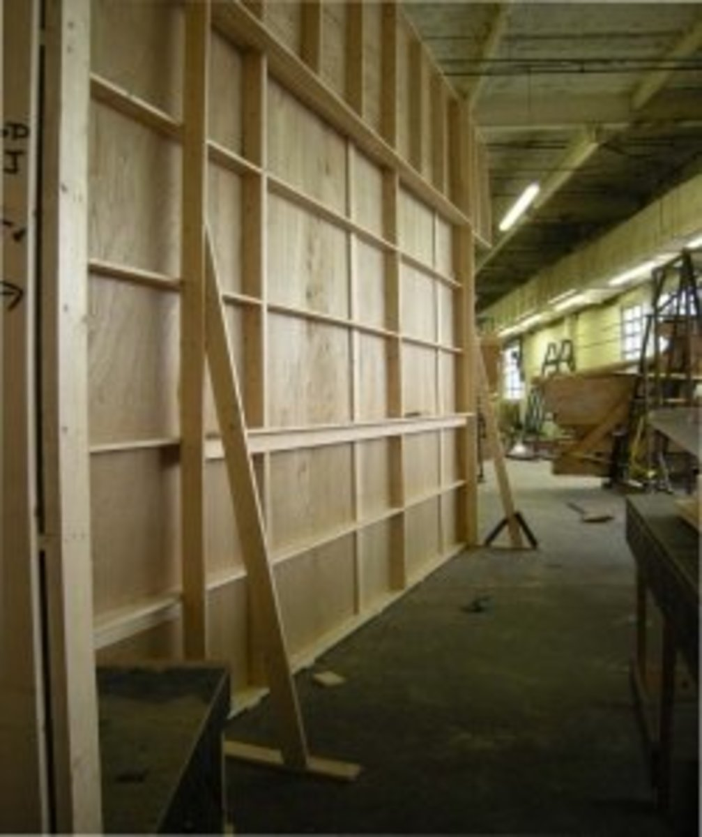 Theater flats (14' tall) with angle braces