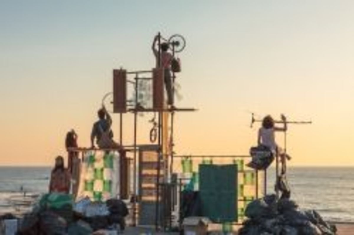Trash Theatre - an ecologically-minded play with a built-from-trash set, designed by  Charbel Samuel Aoun.