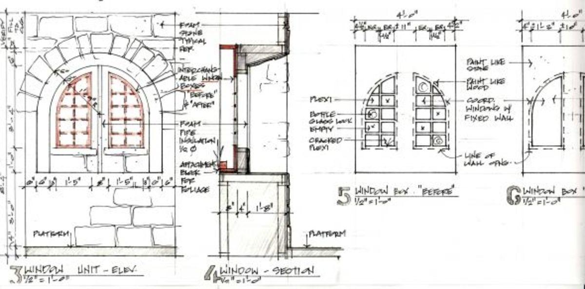 construction drawings - set designer Clare Floyd DeVries