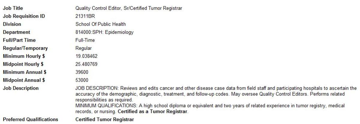 Sr. Certified Tumor Registrar Job Post