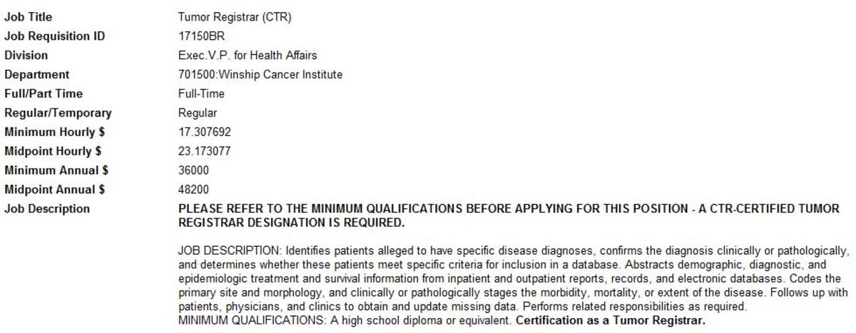 Entry - Level Certified Tumor Registrar Job Post