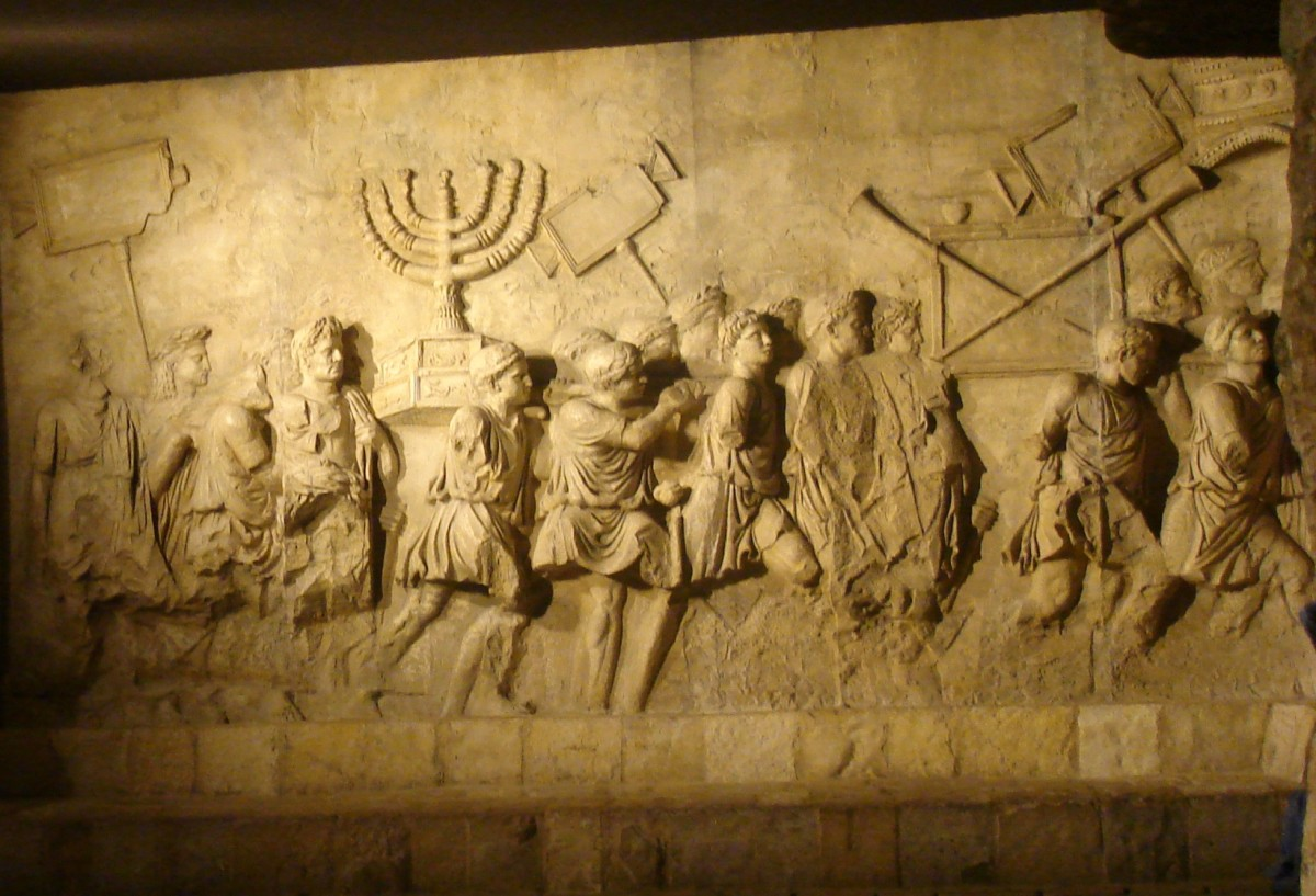 Arch of Titus Menorah, Roman Triumphal arch panel copy from Beth Hatefutsoth, showing spoils of Jerusalem temple.