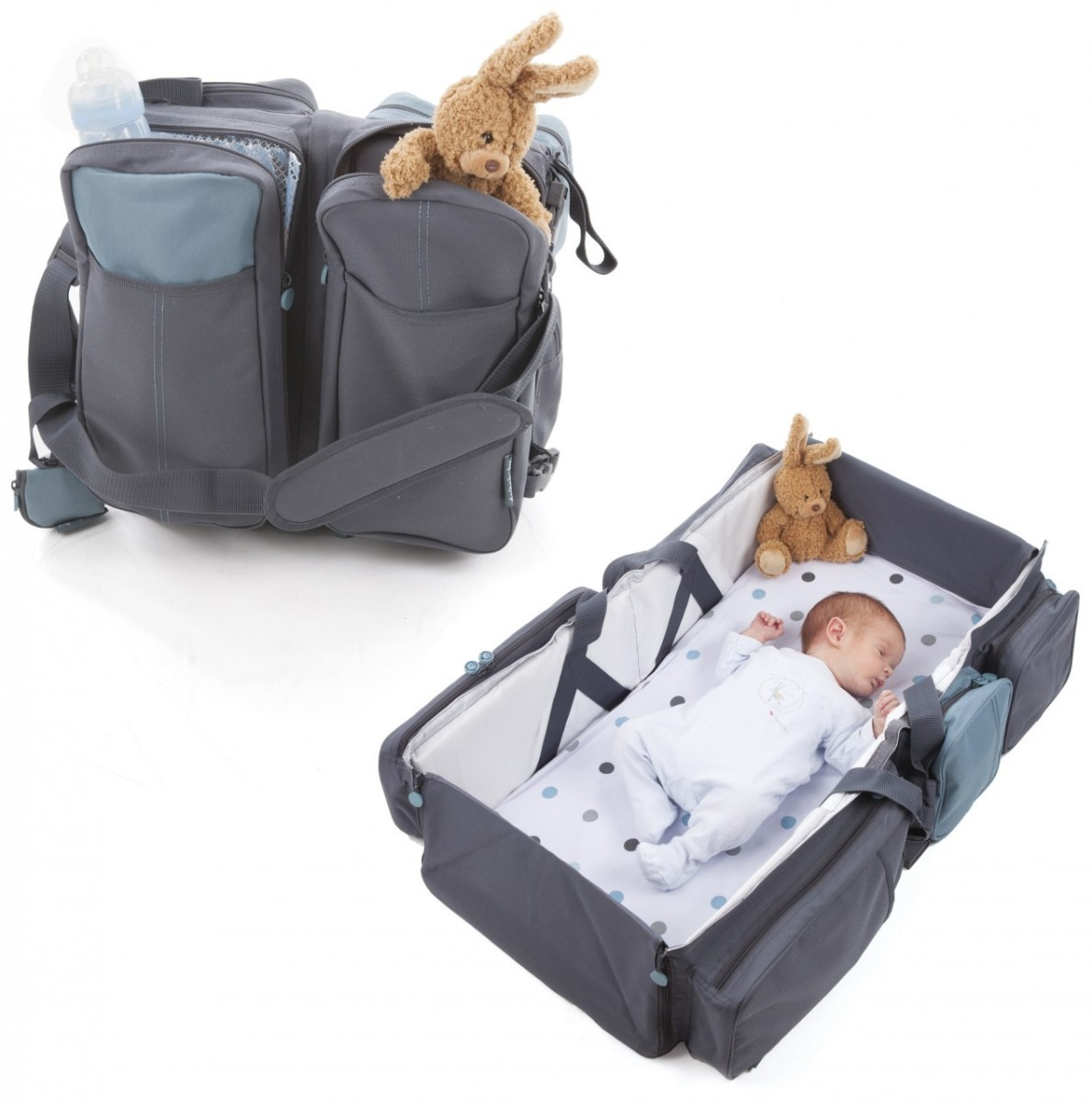 This clever diaper bag also doubles as a diaper changing pad and a portable baby bed.