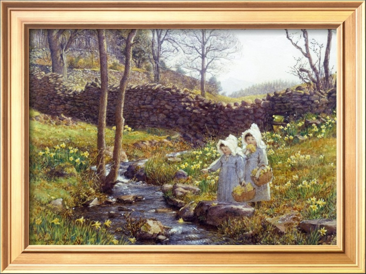 Girls Picking (Heirloom 19th Century) Daffodils as painted by William Gersham Collingwood