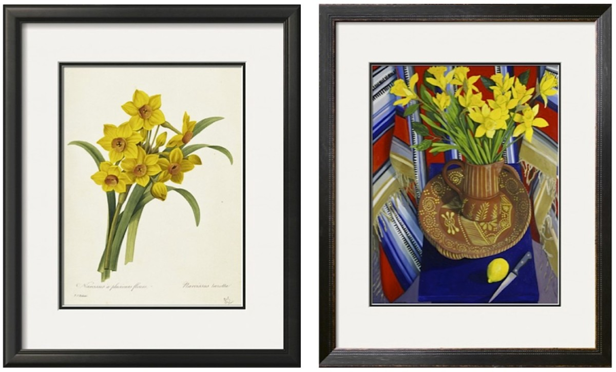 Left: Narcissus, Botanical illustration by Pierre-Joseph Redouté. Right: Jonquilles et Citrons (Daffodils and Lemons) by Isy Ochoa.  Both available in a variety of sizes and formats at