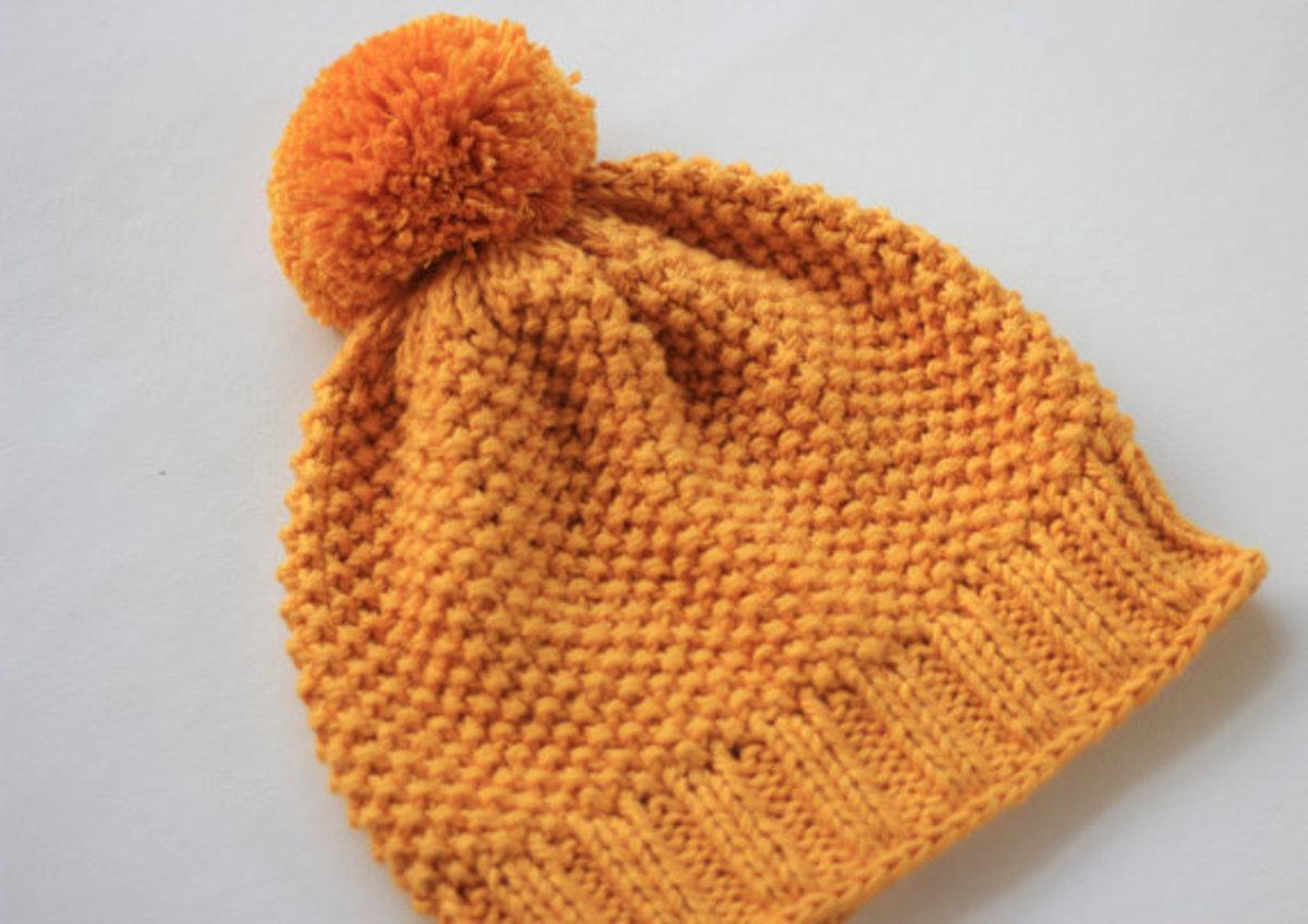 Handmade Hat in Moss Stitch