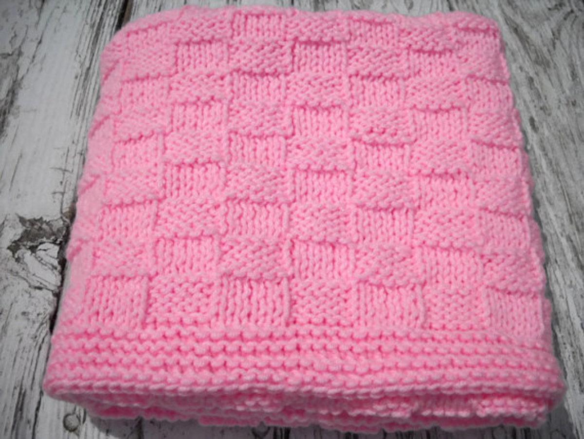 Baby blanket handknit in Basketweave Stitch