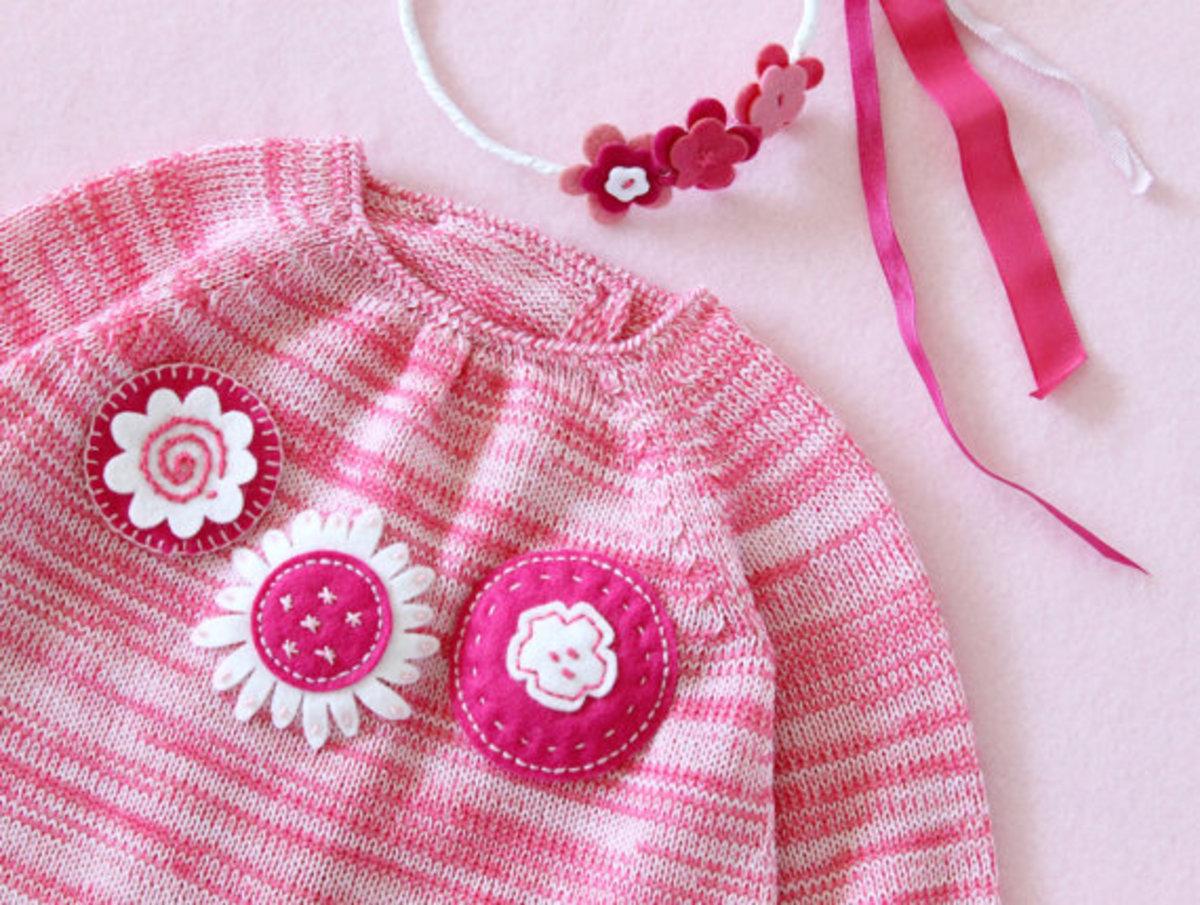 Hand Knit Baby Dress in Garter Stitch