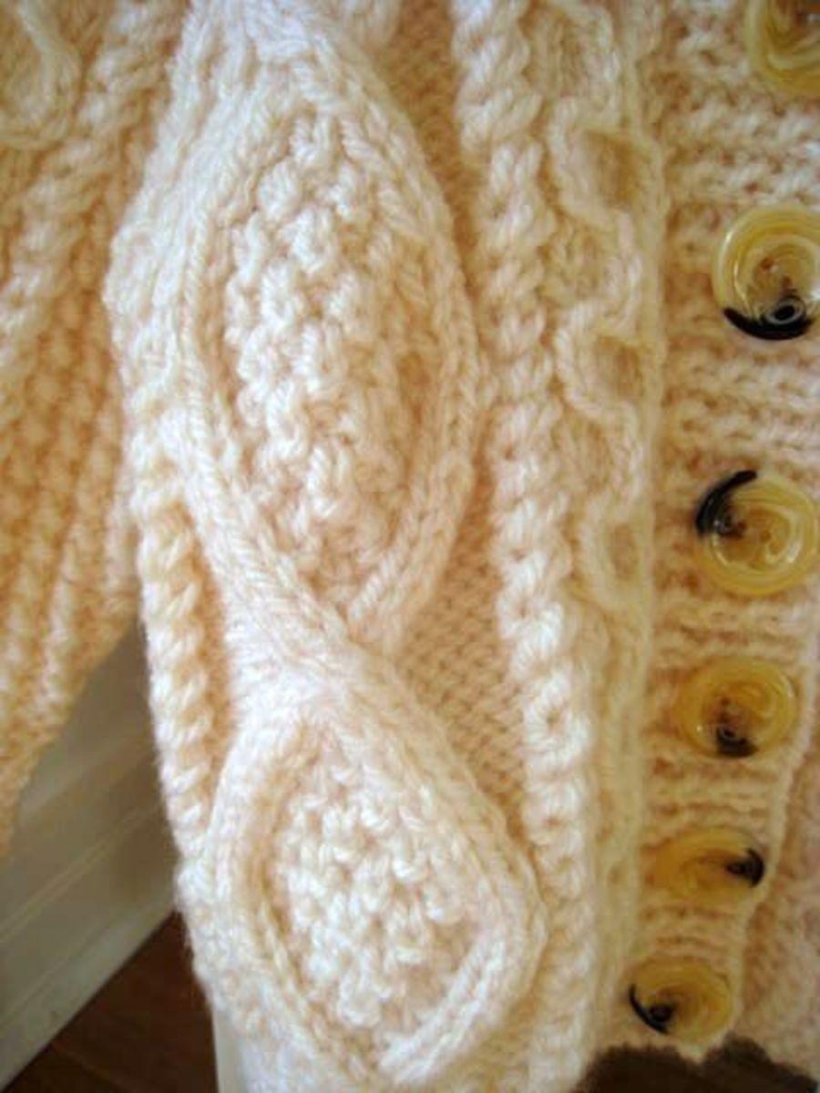 Hand knit traditional Irish fishermans sweater