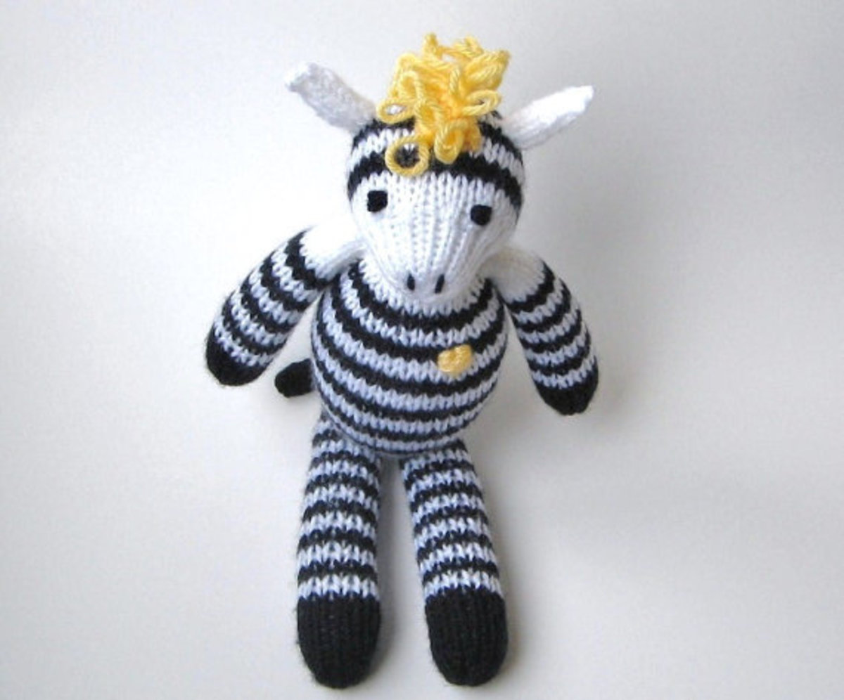 Hand Knit Zebra in Plush