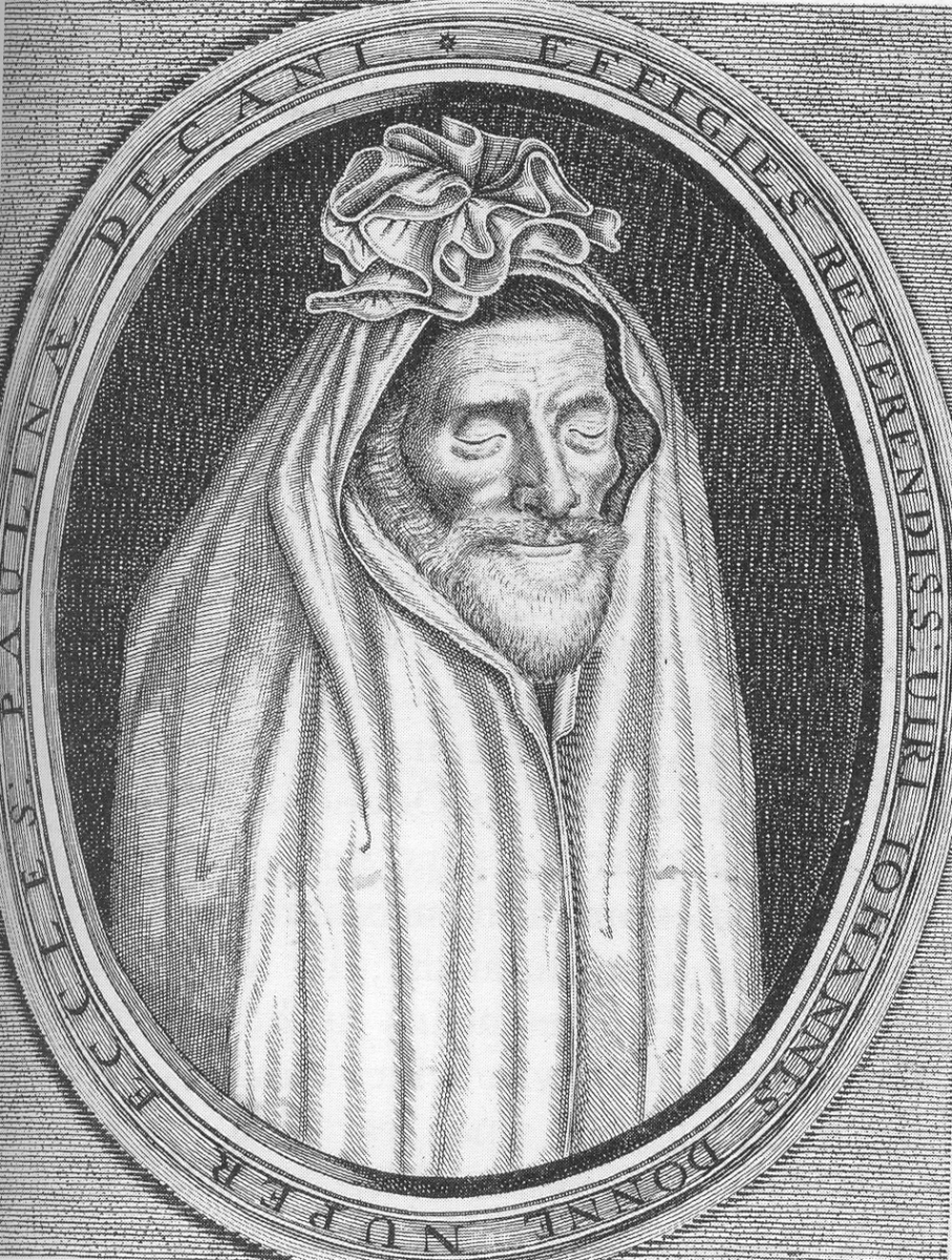 Engraving of John Donne in Shroud; By A working drawing for en:Nicholas Stone's 1631 effigy to him in Westminster Abbey.Geogre at en.wikipedia [Public domain], from Wikimedia Commons
