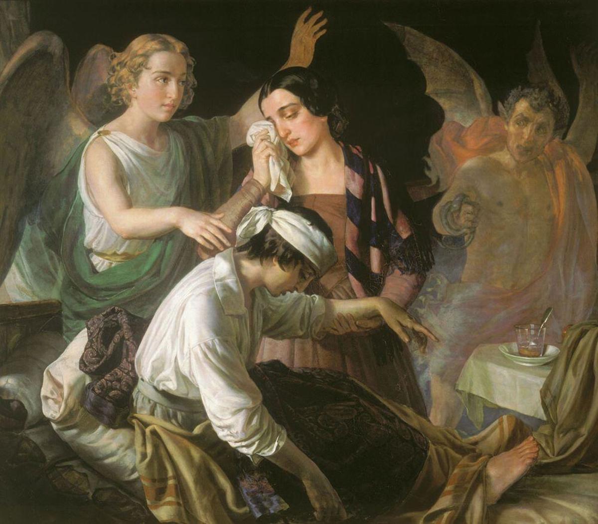Angel Fighting for the Soul; By Alexey Tyranov (http://www.artsait.ru/art/t/tiranov/art1.php) [Public domain], via Wikimedia Commons