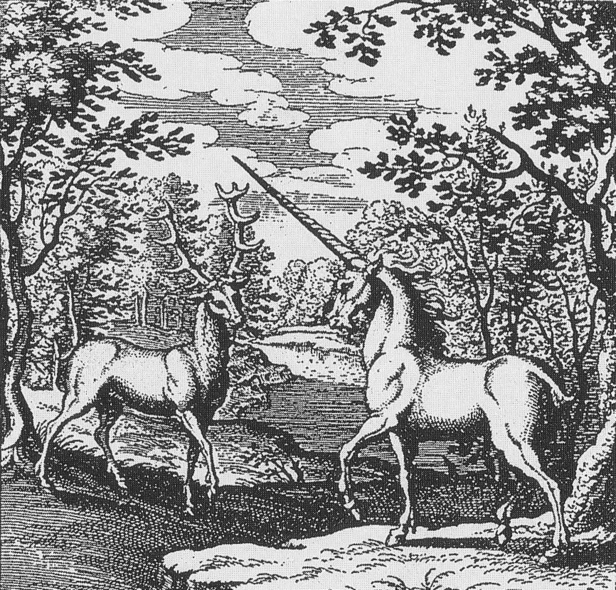 Licorne et cerfRed Deer and Unicorn in a forest - Alchemic engraving - Lambspring, De lapide philosophico figurae et emblemata, figure III, In the Body there is Soul and Spirit; By Lambsprinck - graveur inconnu (Trait alchimique : De Lapide philoso