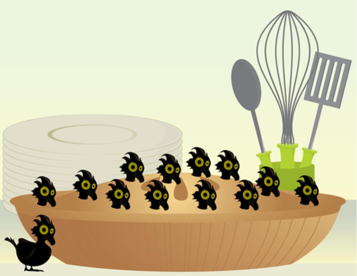 Blackbirds in a pie. Image:  Melissa Patton Shutterstock.com