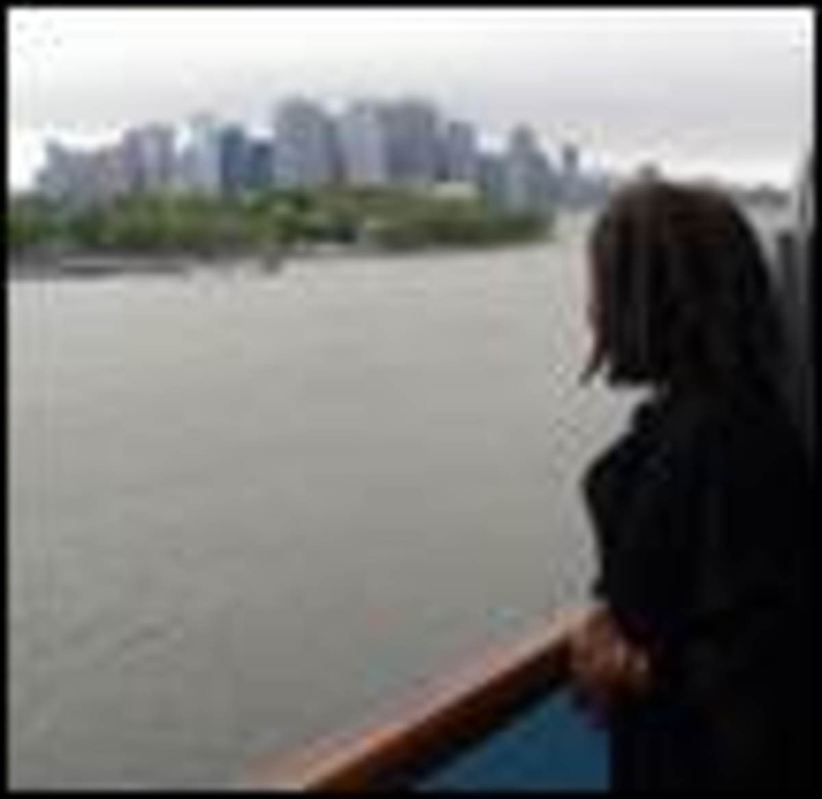 Me on the ship's balcony - of my cousins' stateroom - looking at the NYC harbor