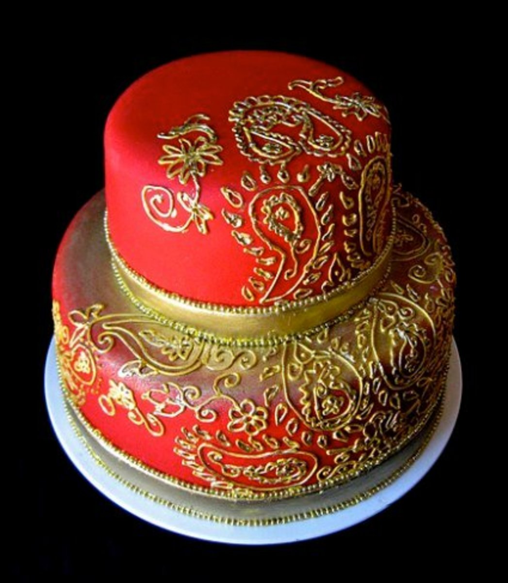 Red and Gold Indian Wedding Cake Red and Gold Indian Wedding Cake