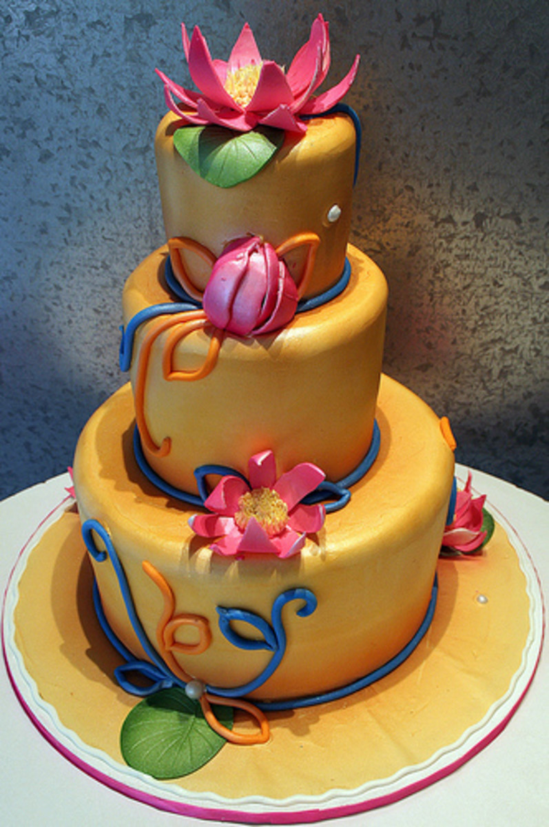 Lotus Indian Themed Wedding Cake