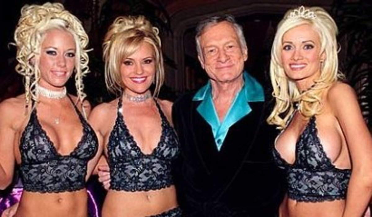 Hugh Hefner with some playmates