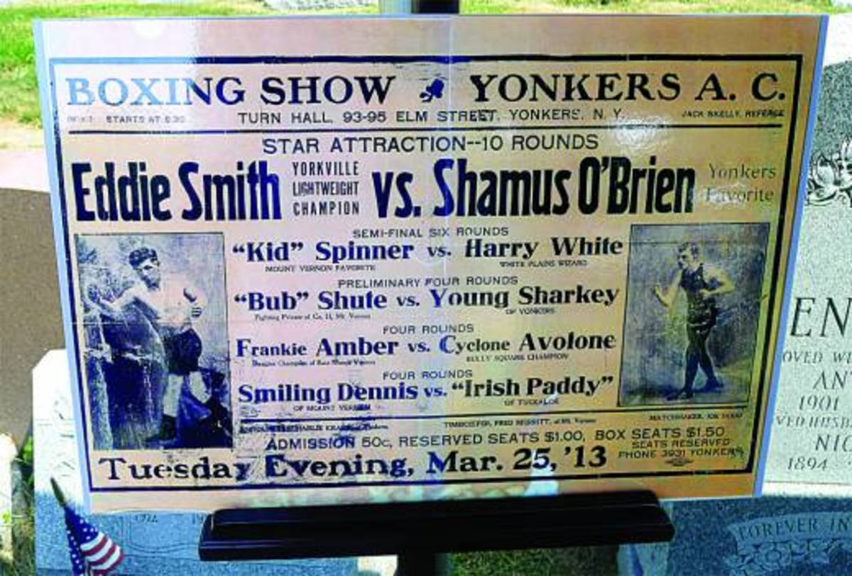 'Yonkers Favorite' Shamus O'Brien is pictured at left, Yorkville Lightweight Champion Eddie Smith is shown at right -- Chris Sheridan photo for Catholic New York.