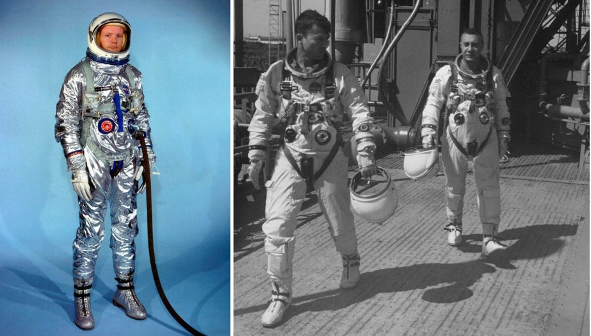 Project Gemini Space Suits: G2C (left), worn by Neil Armstrong, and G3C (right), worn by John Young and Gus Grissom. The gray rectangular items attached to the parachute harness are flotation devices. Photos courtesy of NASA.