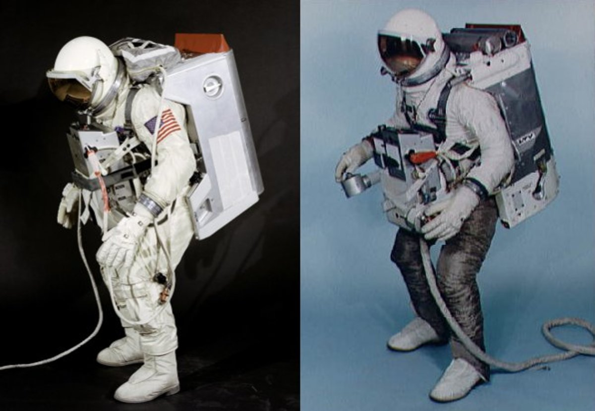 The Extravehicular Support Unit (left) and Astronaut Maneuvering Unit (right) backpacks. Protective material covers the legs of the astronaut wearing the AMU. Photos courtesy of NASA.