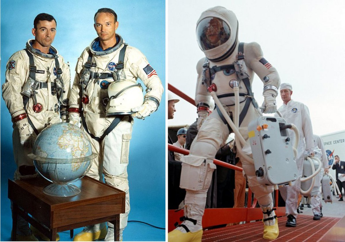Project Gemini Space Suits: G4C (left), worn by John Young and Michael Collins, and G5C (right), worn by Jim Lovell. Lovell is carrying the portable cooling unit used by astronauts prior to entering the spacecraft. Photos courtesy of NASA.