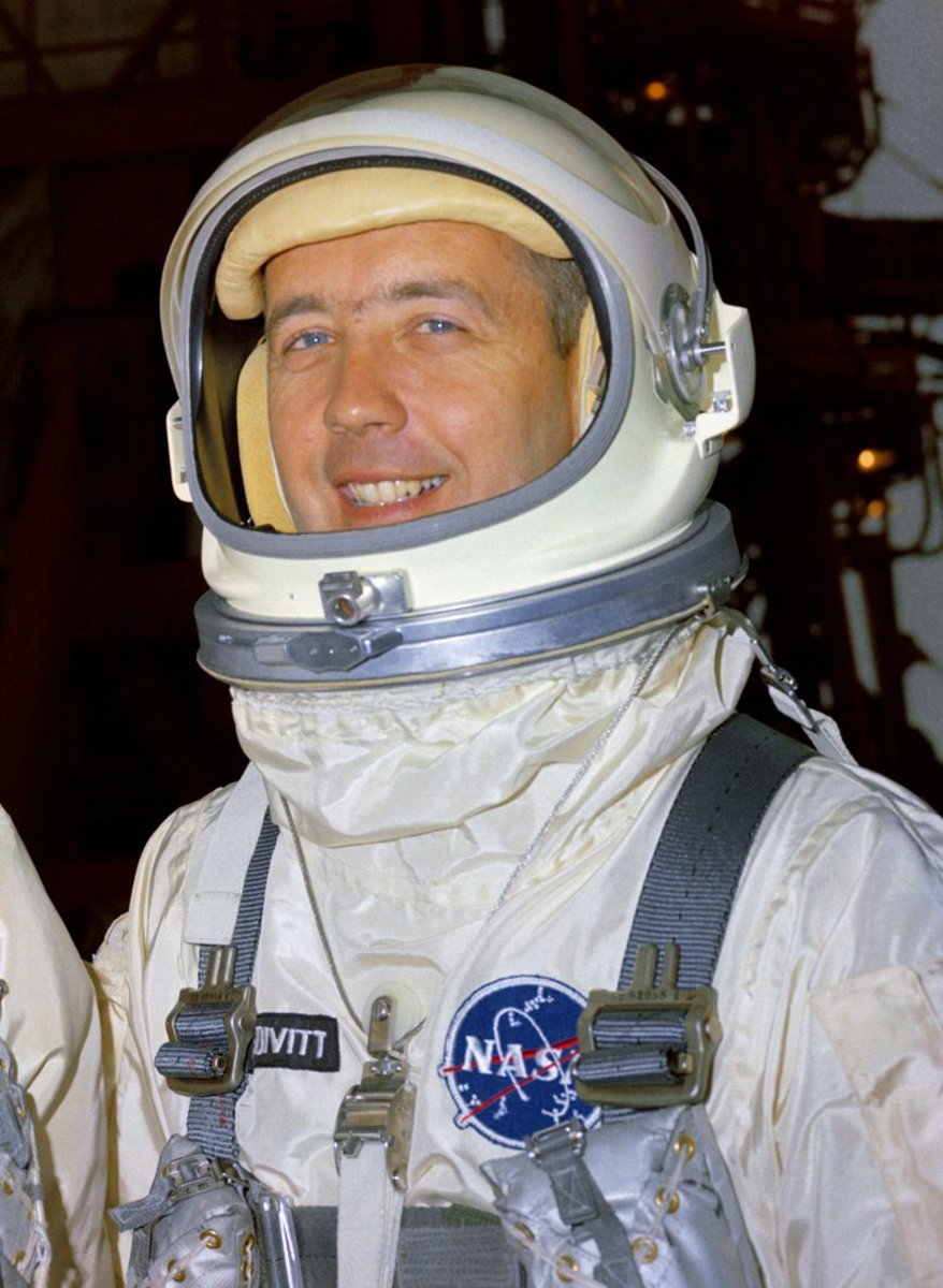 Close-up of Gemini helmet, locking ring, and tie-down assembly, worn by Jim McDivitt. The drinking port is visible on the front of the helmet. Photo courtesy of NASA.