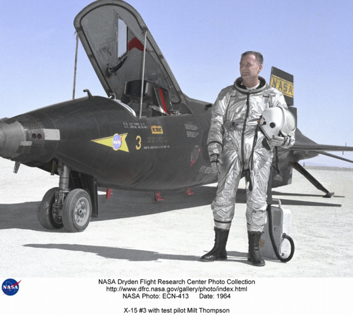 The X-15 rocket plane was an experimental aircraft flown in the 1950s and 1960s. Technology used in this pressure suit was adapted for the Gemini space suit. Photo courtesy of NASA.