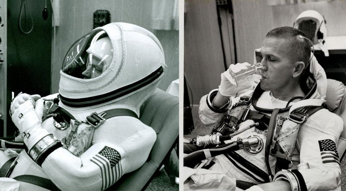 The soft hood of the G5C suit, seen here worn by astronaut Frank Borman prior to the Gemini 7 mission, could be unzipped and rolled back. Photos courtesy of NASA.