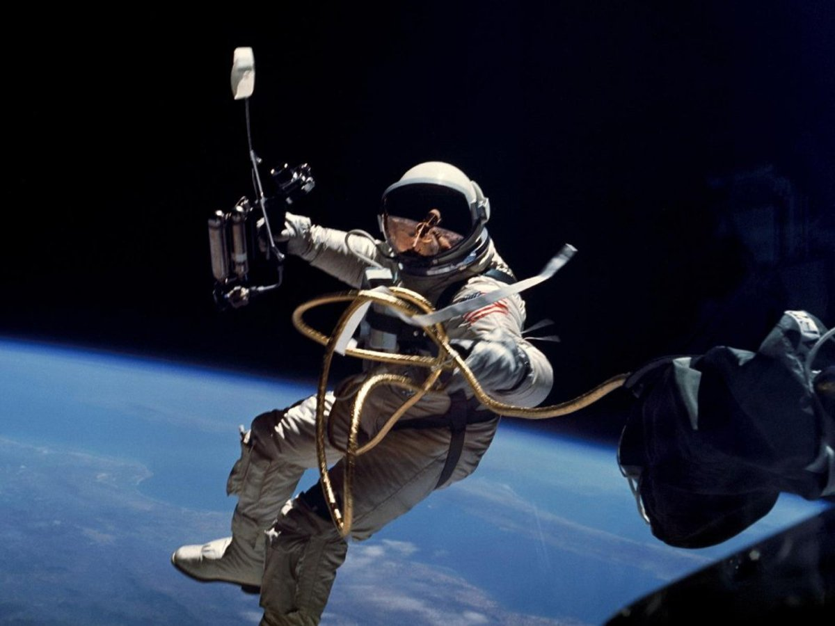 Astronaut Ed White in the Gemini G4C space suit. Support for extravehicular activity was just one of the many functions required of the Gemini suit. Photo courtesy of NASA.