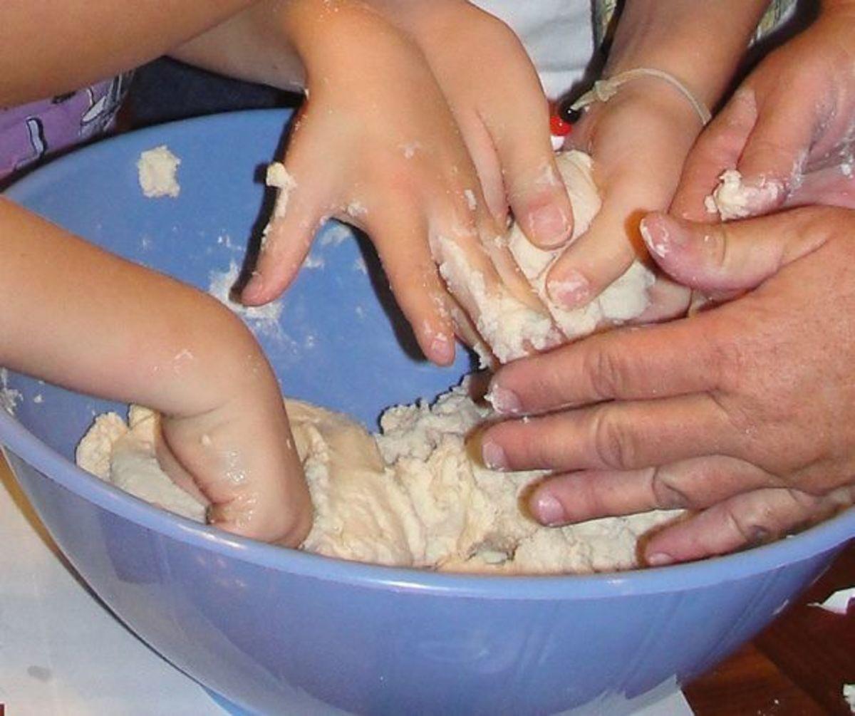Mixing together the salt dough
