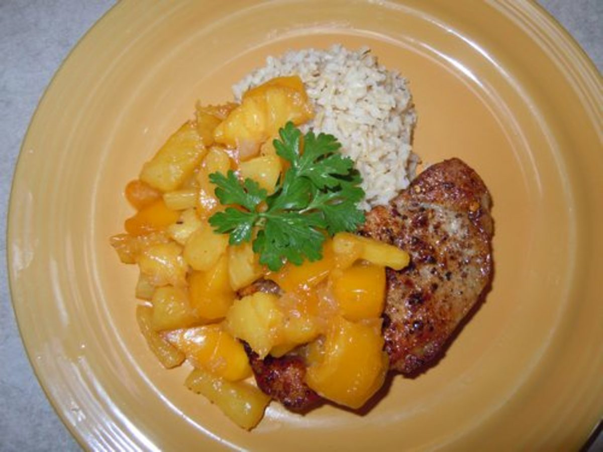 Pork Chops with Mango Pineapple Chutney and Brown Rice