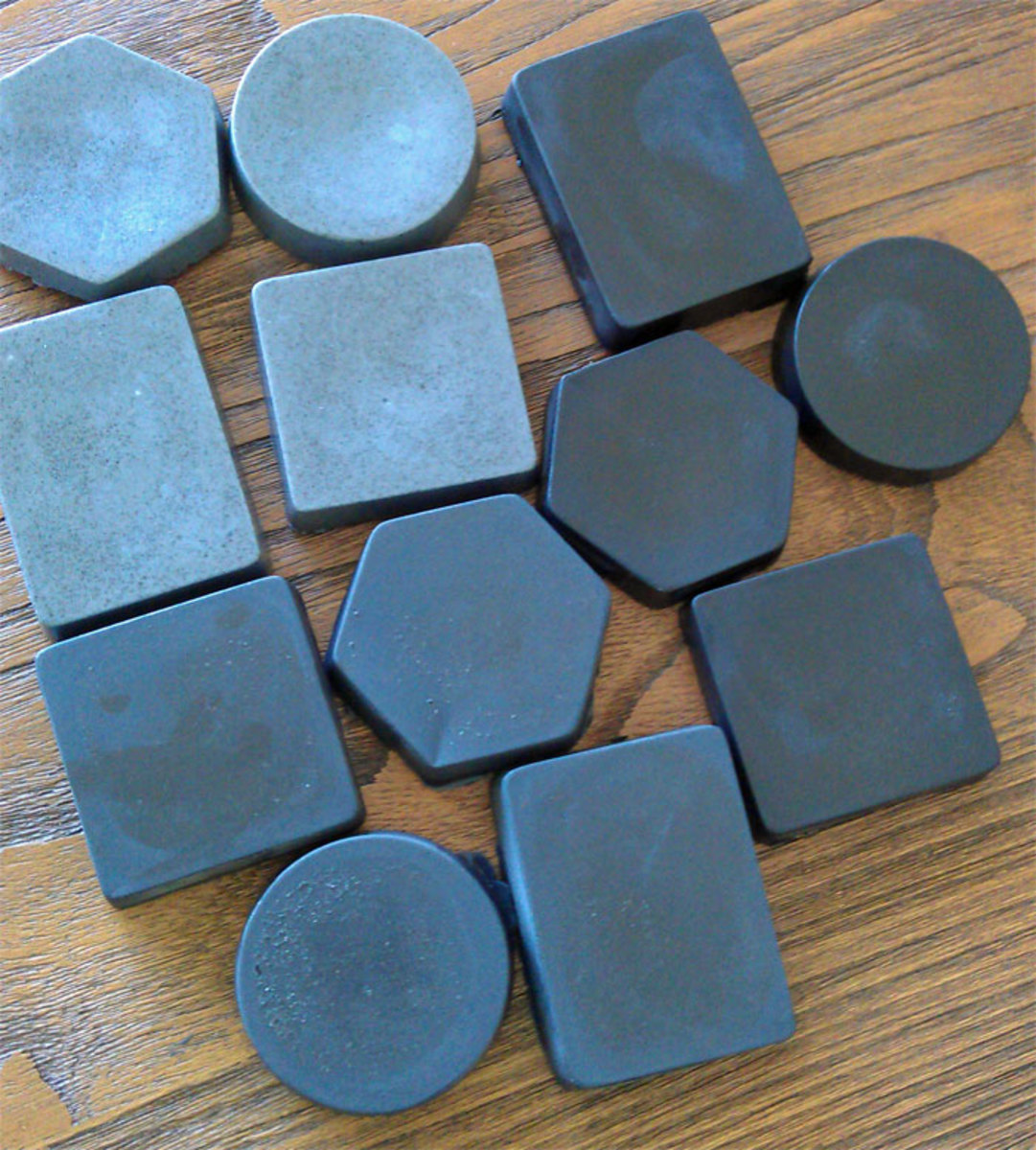 Bamboo charcoal soap with varying amounts of charcoal