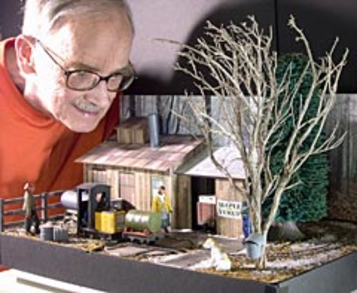 Carl Arendt enjoys one of his layouts.